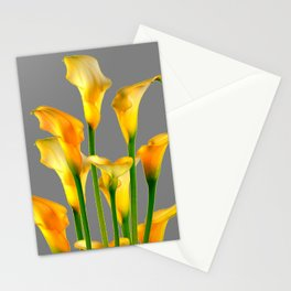 DECORATIVE GOLDEN CALLA LILY FLOWERS ON GREY ART Stationery Cards