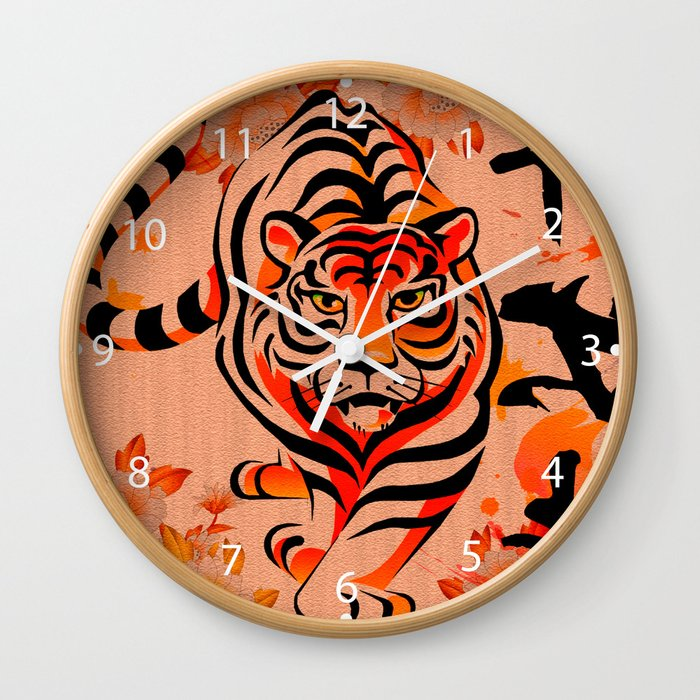 japanese tiger art Wall Clock
