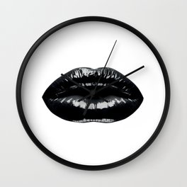 Black Lip Print, Black and White Lips Wall Clock