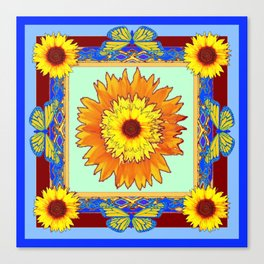 Baby Blue's Butterfly & Sunflowers Western Abstract Canvas Print