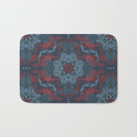 Vintage Fancy - a Pattern in Deep Teal & Red Bath Mat