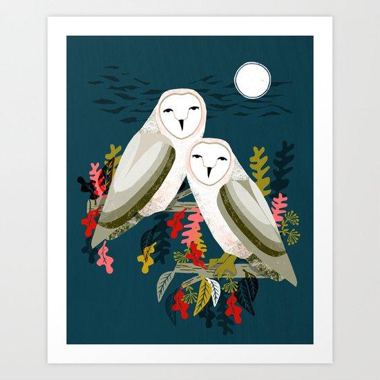Two Owls By Andrea Lauren Art Print By Andrea Lauren