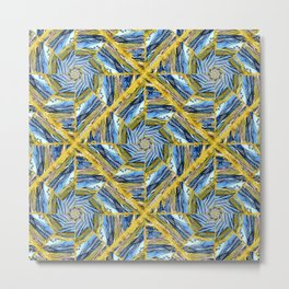 golden day kaleidoscope pattern Metal Print