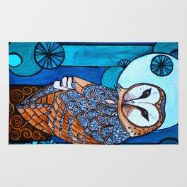 Barn Owl Art Nouveau Panel in blue Rug