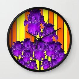 Decorative Contemporary Purple Yellow Iris Orange Garden Art Wall Clock