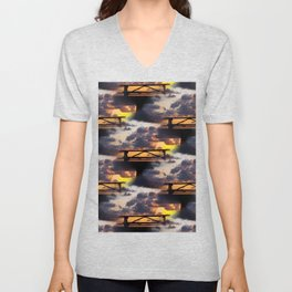 Sunset with Picnic Table Unisex V-Neck