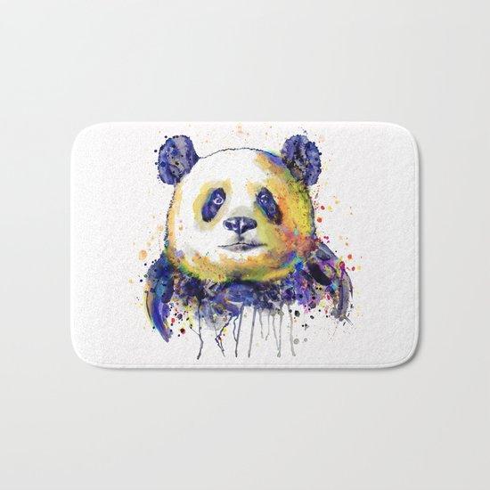 Colorful Panda Head Bath Mat