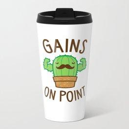 Gains On Point (Cactus Pun) Metal Travel Mug