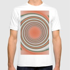Spiral Abstract Mens Fitted Tee MEDIUM White