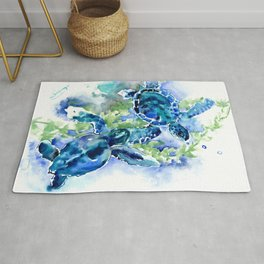 Sea Turtle Turquoise Blue Beach Underwater Scene Green Blue design Rug