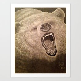 A Grizzly Encounter Art Print