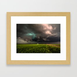 May Thunderstorm - Twisting Storm Over House in Colorado Framed Art Print