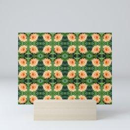 Orange Hibiscus Flower Pattern Mini Art Print