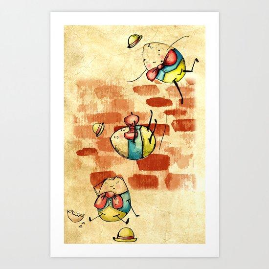 Vintage/ Rustic Style Humpty Dumpty Print Art Print