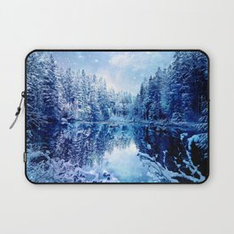 Blue Winter Wonderland : Forest Mirror Lake Laptop Sleeve