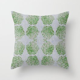 Green and Pink Paisley flowers Throw Pillow