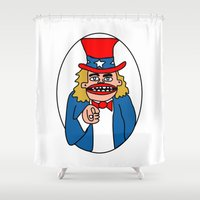 sam smith Shower Curtains featuring Uncle Sam by GOONS