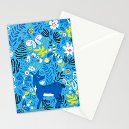Deer and Butterflies (Sky Blue) Stationery Cards
