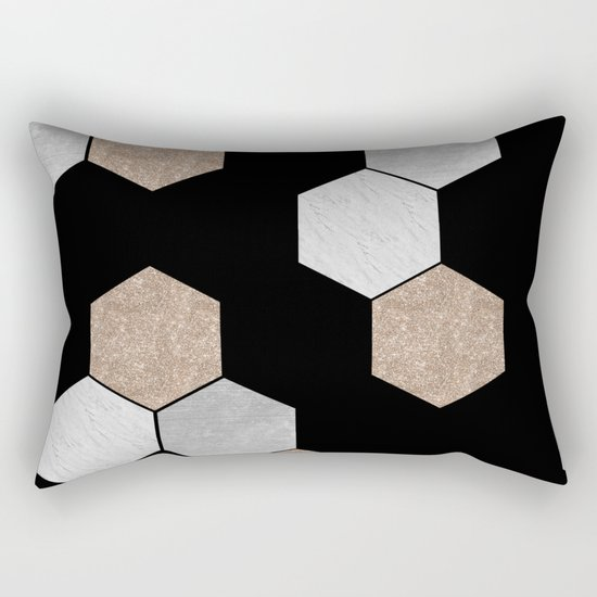 Geometric marble and rose gold on black Rectangular Pillow