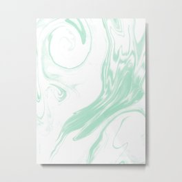 Marble mint 3 Suminagashi watercolor pattern art pisces water wave ocean minimal design Metal Print