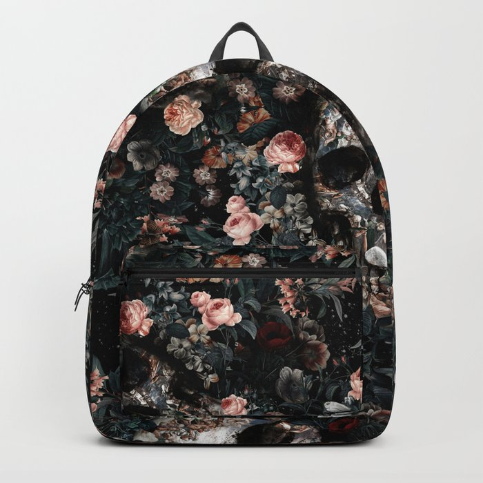 Skull and Floral pattern Backpack