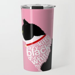 Typographic black and white lazy kitty cat on pink  #typography #catlover Travel Mug