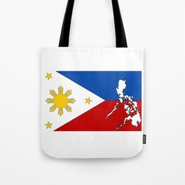 Philippines Flag with Filipino Map Tote Bag
