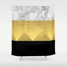 Stacked - gold foil black and marble cell phone case golden urban minimal retro modern city hipster  Shower Curtain