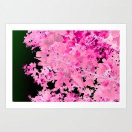 Abstract Tree Landscape Dark Botanical Art, green, black and pink Art Print
