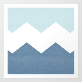 BLUE BLOCK CHEVRON Art Print