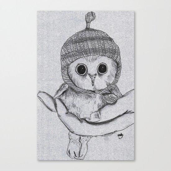 Bobble Hat Owl Canvas Print