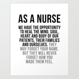 Nurse Have The Opportunity To Heal The Mind, Nurse Wall Art, Nurse Gifts, Nurse Art, Hospital Decor Art Print