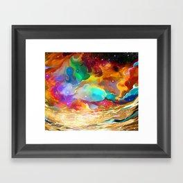 Colorful Liquid Cosmic Galaxy Night Sky Framed Art Print