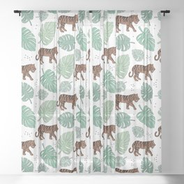 Botanical green tiger garden with monstera and palm leaves illustrated pattern Sheer Curtain