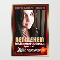 caitlin hackett Canvas Prints featuring Caitlin Oliver appearance card - King of Arcades World Premiere, Bethlehem PA by The Walter Day Collection