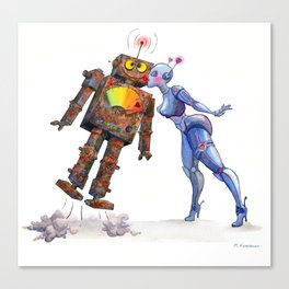Sweet, Sweet Robot Love Canvas Print