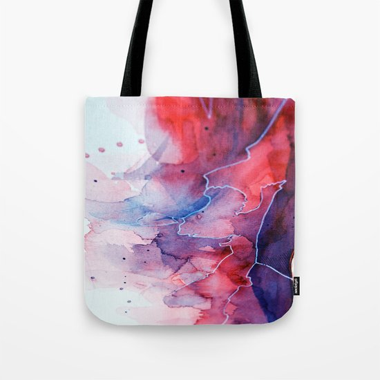 Watercolor magenta & cyan, abstract texture Tote Bag