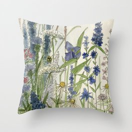 Wildflowers 2 watercolor Throw Pillow