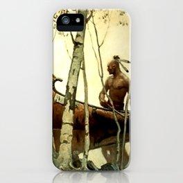"N C Wyeth Vintage Western Painting ""Birchbark Canoe"" iPhone Case"
