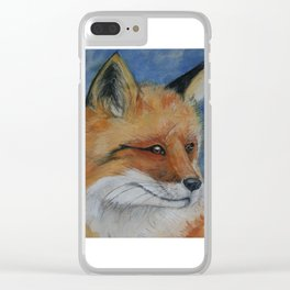 Handsome Red Fox Painting Clear iPhone Case