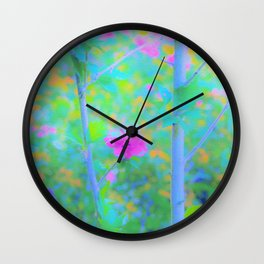 Pink Rose of Sharon Impressionistic Blue Landscape Garden Wall Clock