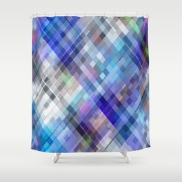 Blue Moving Squares Shower Curtain