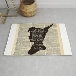 Peter Pan Over Vintage Dictionary Page - That Place Rug