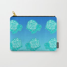 Teal Sea Turtles Blue & Aqua Pattern Carry-All Pouch
