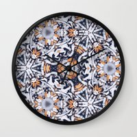 cigarettes Wall Clocks featuring cigarettes pattern by Sushibird