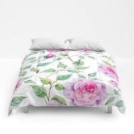 Roses Pink and White Shabby Chic Floral Comforters