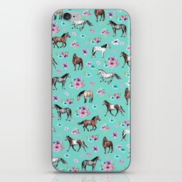 Hand drawn horses, Flower horses, Floral Pattern, Aqua Blue iPhone Skin