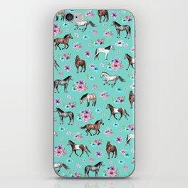 Hand drawn horses, Flower horses, Floral Pattern, Aqua Blue iPhone Skin