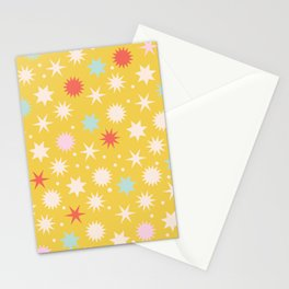 Vintage Christmas Wrapping Paper Pattern Design Mustard Stars & Dots Stationery Cards