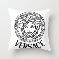 versace Throw Pillows featuring Versace Noir by Goldflakes